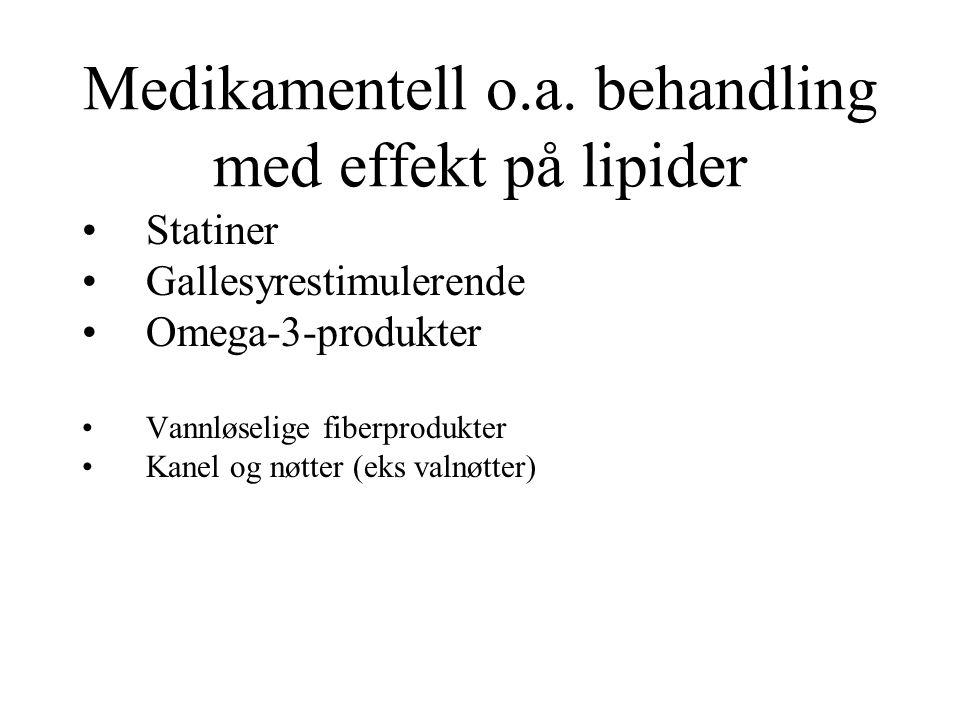 Medikamentell o.a. behandling med effekt på lipider Statiner Gallesyrestimulerende Omega-3-produkter Vannløselige fiberprodukter Kanel og nøtter (eks