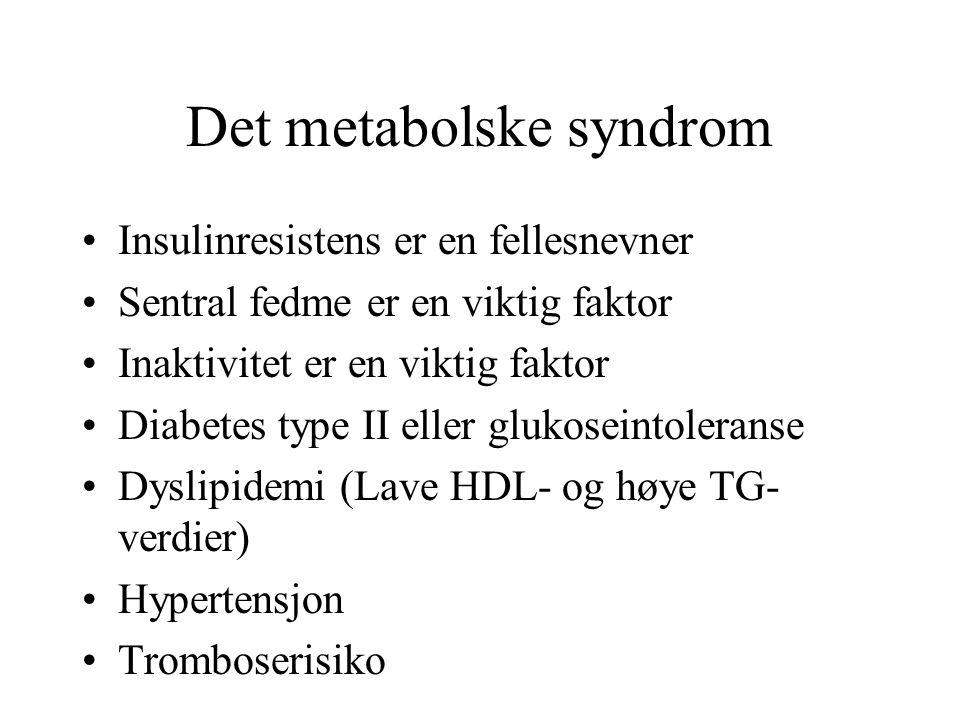 Det metabolske syndrom Én klinisk enhet - ikke tre sykdommer Livsstil (mosjon og kaloribegrensning) er det viktigste Den medikamentelle risikointervensjon kan rette seg mot tromboserisiko, insulinresistens, forhøyet blodtrykk og dyslipidemi (ikke forskjellige sykdommer )