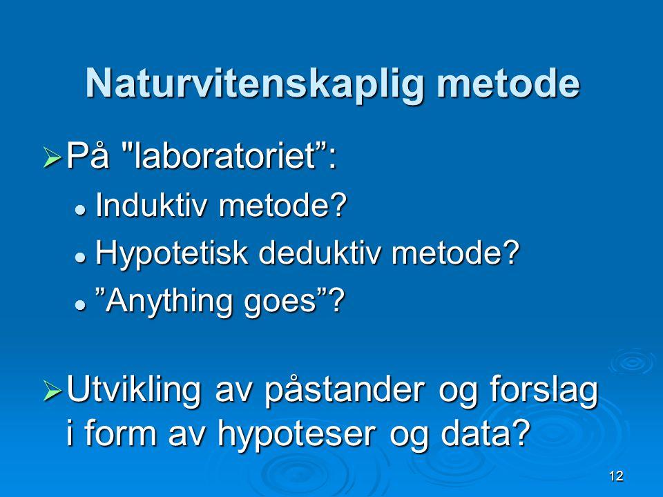 12 Naturvitenskaplig metode  På laboratoriet : Induktiv metode.