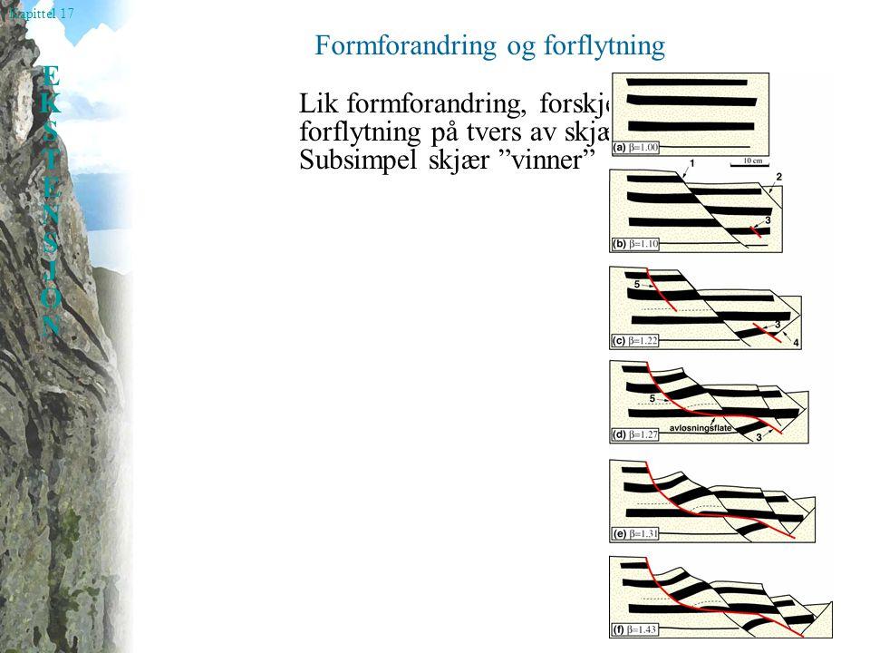 """Kapittel 17 EKSTENSJONEKSTENSJON Formforandring og forflytning Lik formforandring, forskjellig forflytning på tvers av skjærsonen: Subsimpel skjær """"vi"""