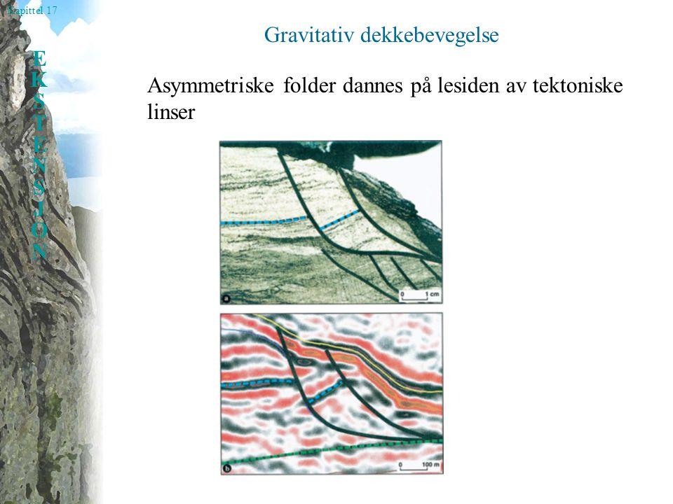 Kapittel 17 EKSTENSJONEKSTENSJON Gravitativ dekkebevegelse Asymmetriske folder dannes på lesiden av tektoniske linser