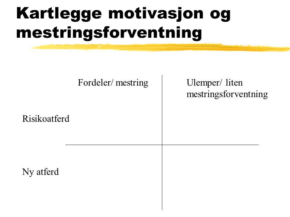 Kartlegge motivasjon og mestringsforventning Risikoatferd Ny atferd Fordeler/ mestringUlemper/ liten mestringsforventning