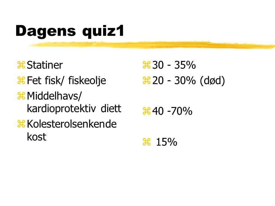 Dagens quiz1 zStatiner zFet fisk/ fiskeolje zMiddelhavs/ kardioprotektiv diett zKolesterolsenkende kost z 30 - 35% z 20 - 30% (død) z 40 -70% z 15%