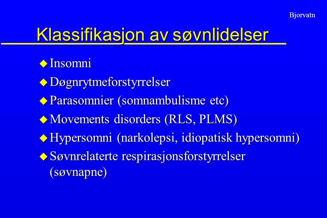 Bjorvatn Klassifikasjon av søvnlidelser u Insomni u Døgnrytmeforstyrrelser u Parasomnier (somnambulisme etc) u Movements disorders (RLS, PLMS) u Hyper
