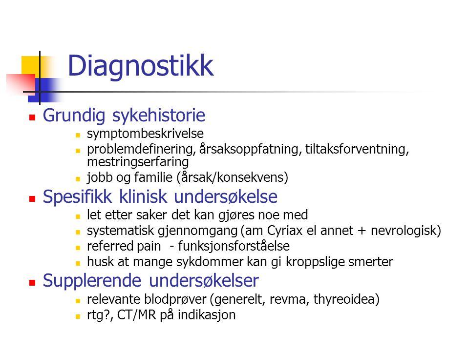 Diagnostikk Grundig sykehistorie symptombeskrivelse problemdefinering, årsaksoppfatning, tiltaksforventning, mestringserfaring jobb og familie (årsak/
