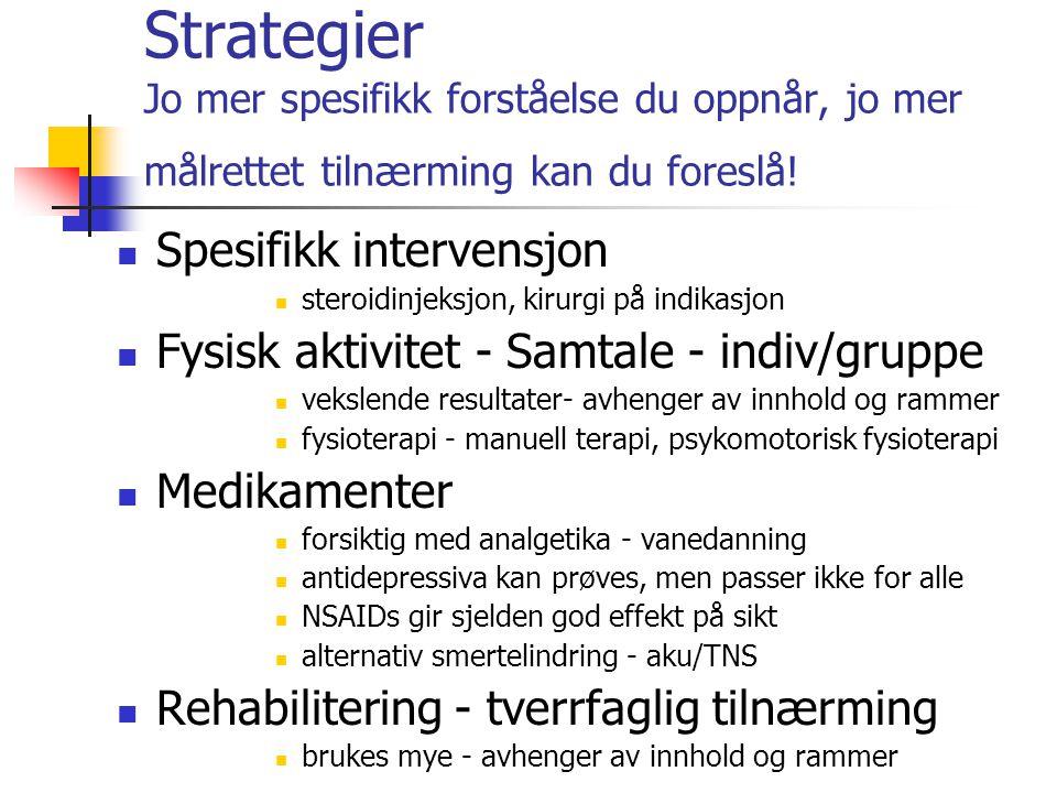 Strategier Jo mer spesifikk forståelse du oppnår, jo mer målrettet tilnærming kan du foreslå! Spesifikk intervensjon steroidinjeksjon, kirurgi på indi