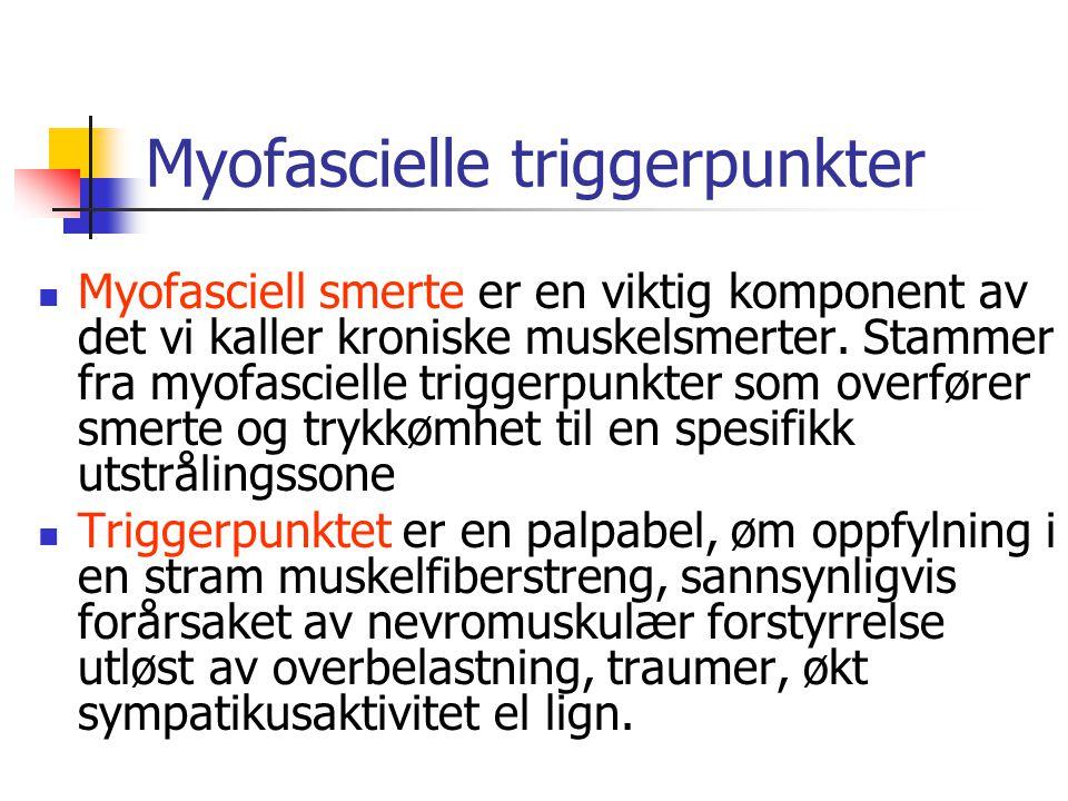 Myofascielle triggerpunkter Myofasciell smerte er en viktig komponent av det vi kaller kroniske muskelsmerter. Stammer fra myofascielle triggerpunkter