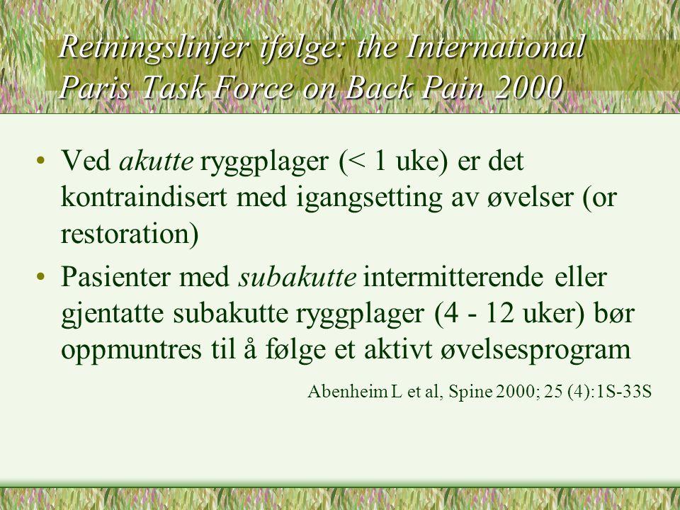 Retningslinjer ifølge: the International Paris Task Force on Back Pain 2000 Ved akutte ryggplager (< 1 uke) er det kontraindisert med igangsetting av øvelser (or restoration) Pasienter med subakutte intermitterende eller gjentatte subakutte ryggplager (4 - 12 uker) bør oppmuntres til å følge et aktivt øvelsesprogram Abenheim L et al, Spine 2000; 25 (4):1S-33S