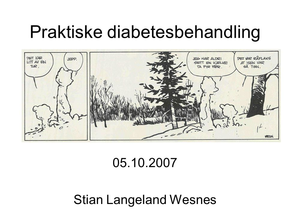 Praktiske diabetesbehandling 05.10.2007 Stian Langeland Wesnes