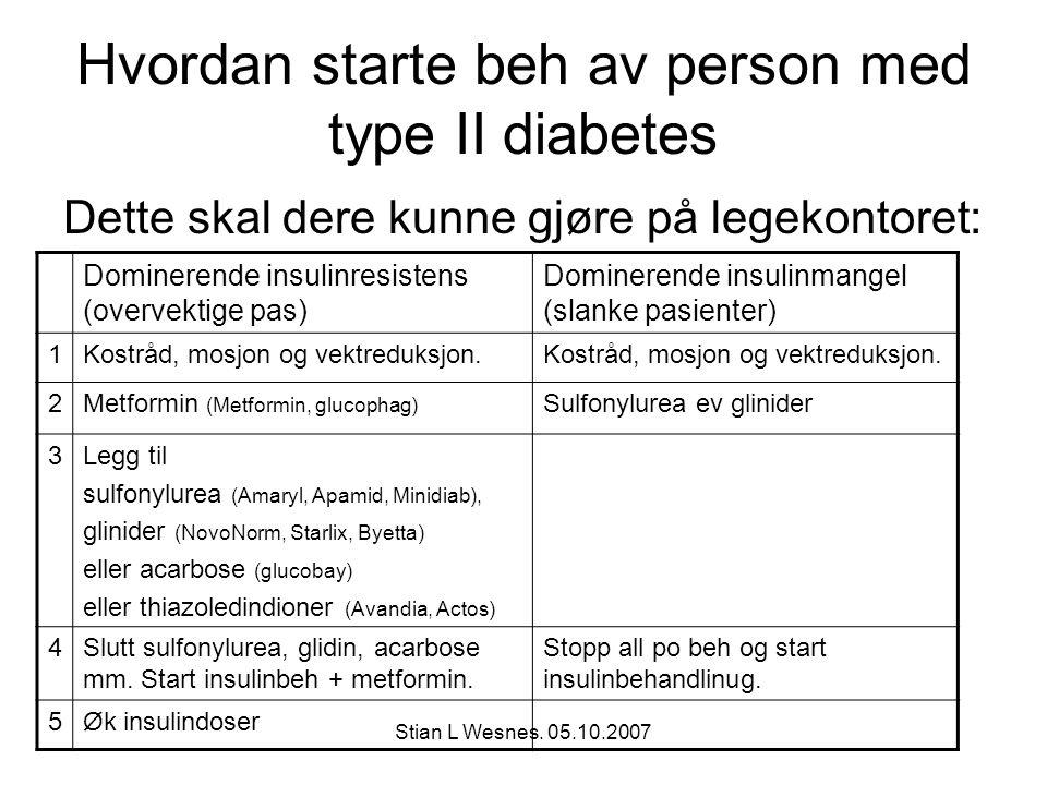 Stian L Wesnes. 05.10.2007 Hvordan starte beh av person med type II diabetes Dette skal dere kunne gjøre på legekontoret: Dominerende insulinresistens