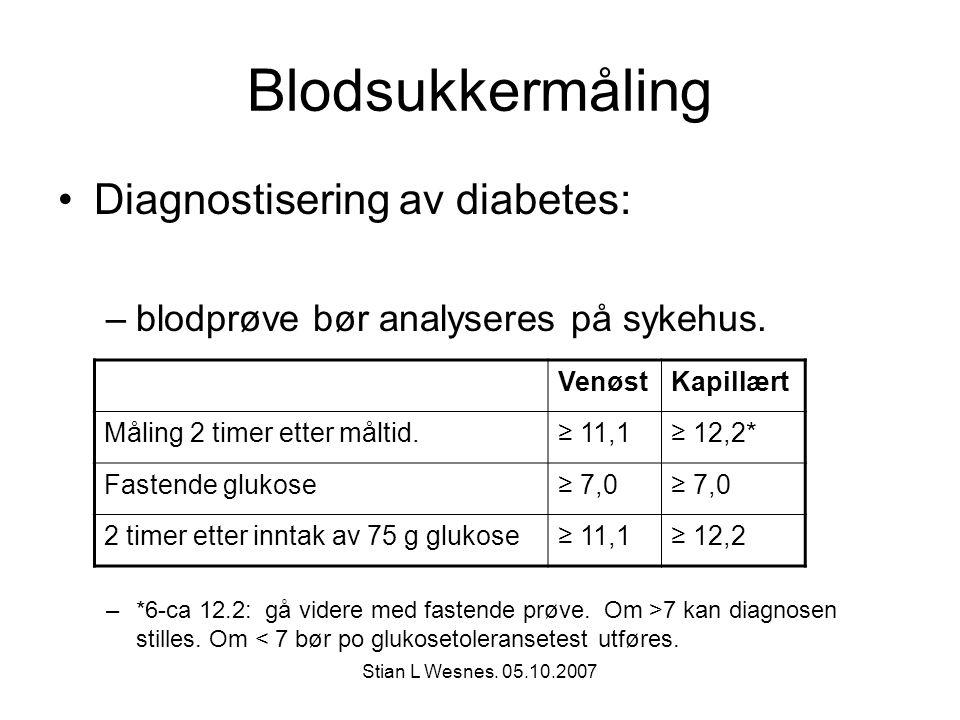 Stian L Wesnes. 05.10.2007 Blodsukkermåling Diagnostisering av diabetes: –blodprøve bør analyseres på sykehus. –*6-ca 12.2: gå videre med fastende prø