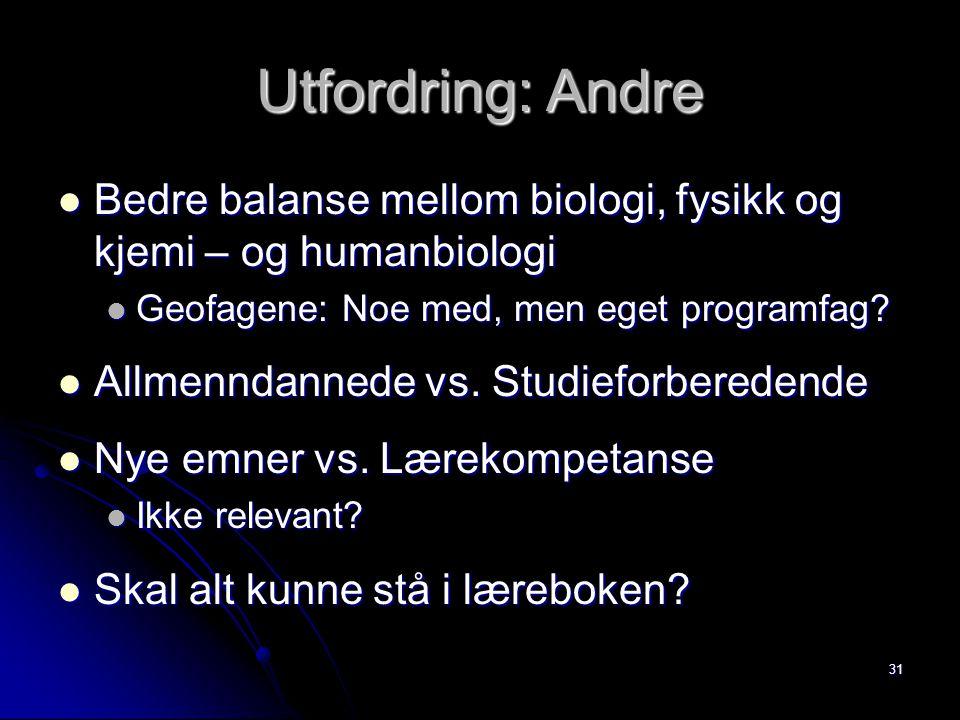 31 Utfordring: Andre Bedre balanse mellom biologi, fysikk og kjemi – og humanbiologi Bedre balanse mellom biologi, fysikk og kjemi – og humanbiologi G