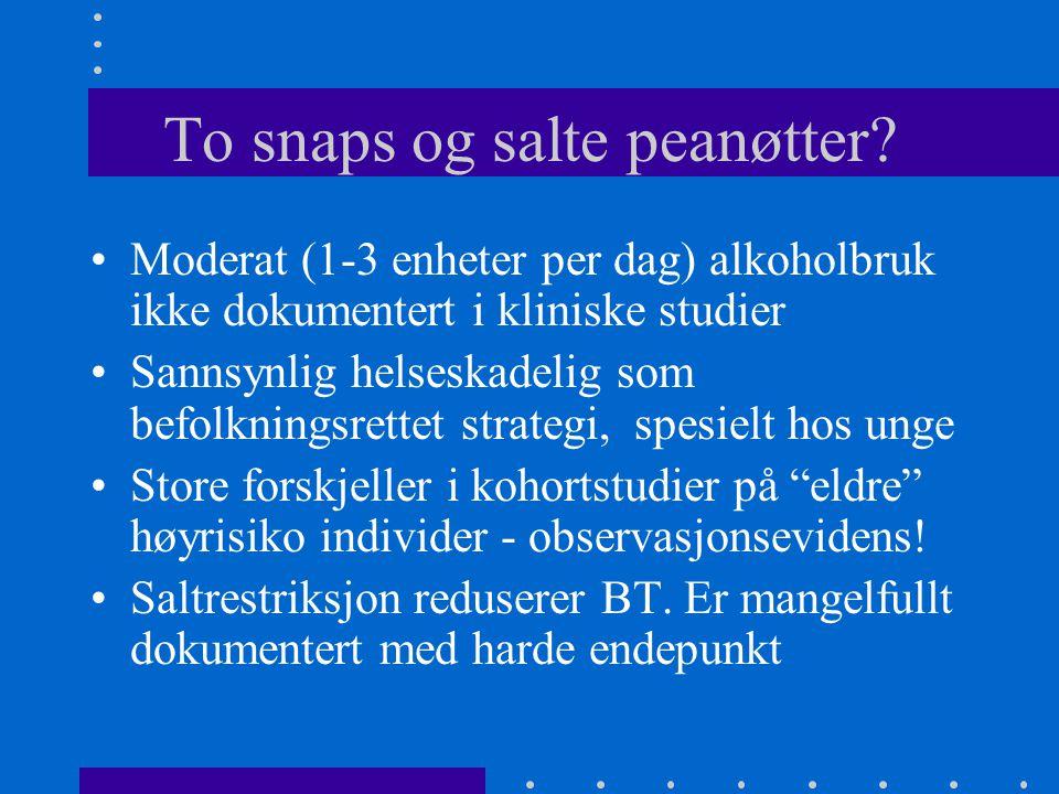 To snaps og salte peanøtter? Moderat (1-3 enheter per dag) alkoholbruk ikke dokumentert i kliniske studier Sannsynlig helseskadelig som befolkningsret