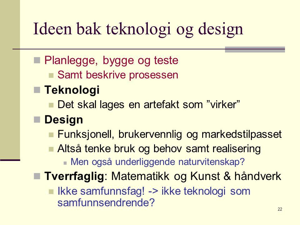 """22 Ideen bak teknologi og design Planlegge, bygge og teste Samt beskrive prosessen Teknologi Det skal lages en artefakt som """"virker"""" Design Funksjonel"""