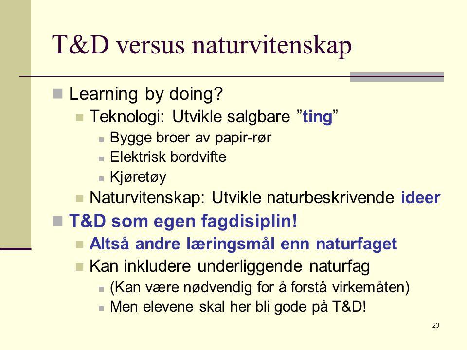 """23 T&D versus naturvitenskap Learning by doing? Teknologi: Utvikle salgbare """"ting"""" Bygge broer av papir-rør Elektrisk bordvifte Kjøretøy Naturvitenska"""