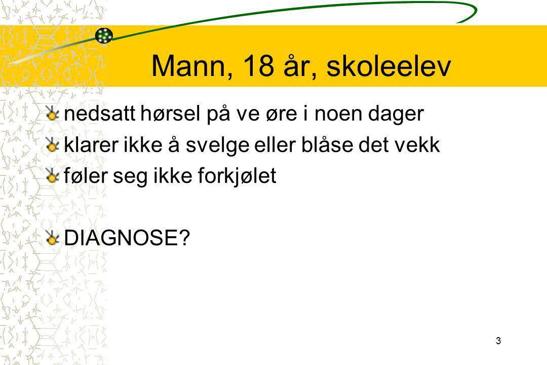 4 Mann, 18 år, skoleelev Ve øre: rikelig ørevoks, ligger som en propp Behandling: øreskylling Helt fin hørsel etterpå D: Cerumen