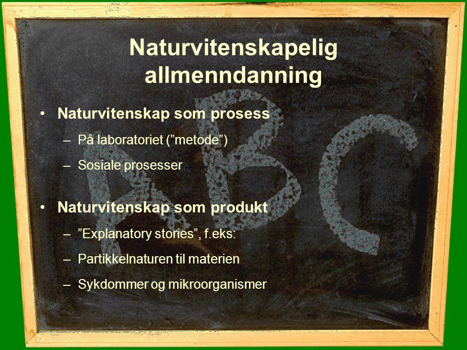 """Naturvitenskapelig allmenndanning Naturvitenskap som prosess –På laboratoriet (""""metode"""") –Sosiale prosesser Naturvitenskap som produkt –""""Explanatory s"""