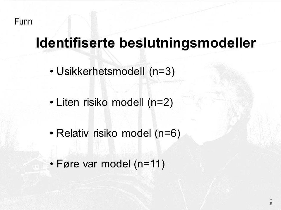 Identifiserte beslutningsmodeller Funn Usikkerhetsmodell (n=3) Liten risiko modell (n=2) Relativ risiko model (n=6) Føre var model (n=11) 18