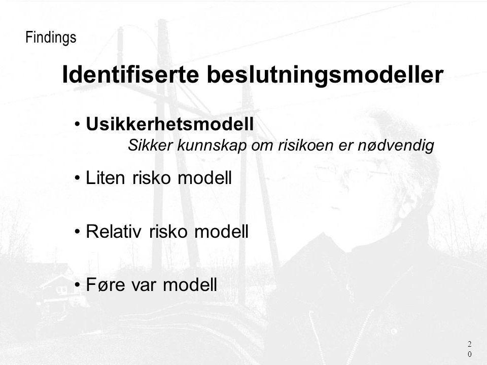 Findings Usikkerhetsmodell Sikker kunnskap om risikoen er nødvendig Liten risko modell Relativ risko modell Føre var modell 20 Identifiserte beslutningsmodeller