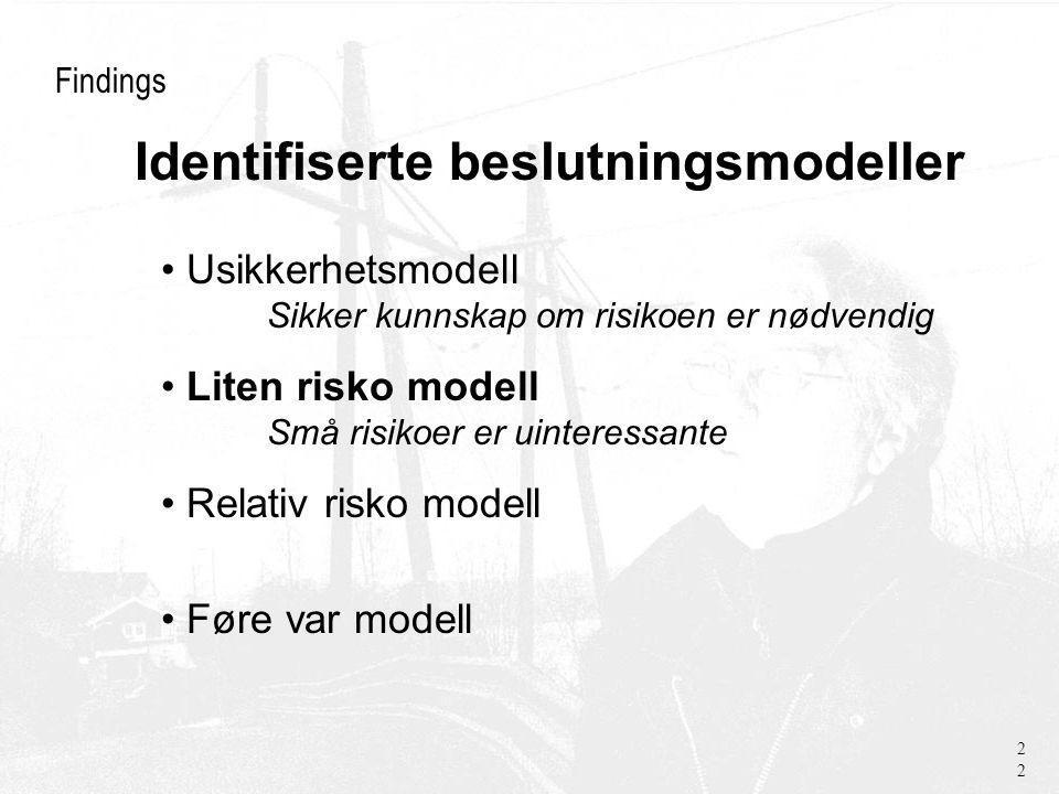 Findings Usikkerhetsmodell Sikker kunnskap om risikoen er nødvendig Liten risko modell Små risikoer er uinteressante Relativ risko modell Føre var modell 22 Identifiserte beslutningsmodeller