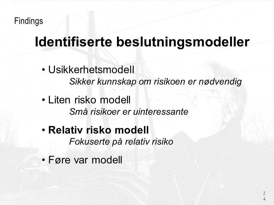 Findings Usikkerhetsmodell Sikker kunnskap om risikoen er nødvendig Liten risko modell Små risikoer er uinteressante Relativ risko modell Fokuserte på relativ risiko Føre var modell 24 Identifiserte beslutningsmodeller