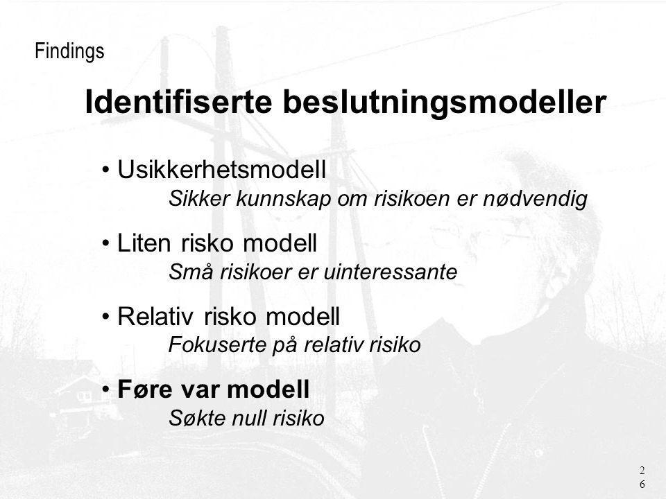 Findings Usikkerhetsmodell Sikker kunnskap om risikoen er nødvendig Liten risko modell Små risikoer er uinteressante Relativ risko modell Fokuserte på relativ risiko Føre var modell Søkte null risiko 26 Identifiserte beslutningsmodeller