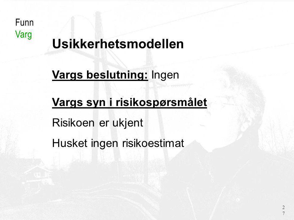 Usikkerhetsmodellen Funn Varg Vargs beslutning: Ingen Vargs syn i risikospørsmålet Risikoen er ukjent Husket ingen risikoestimat 27