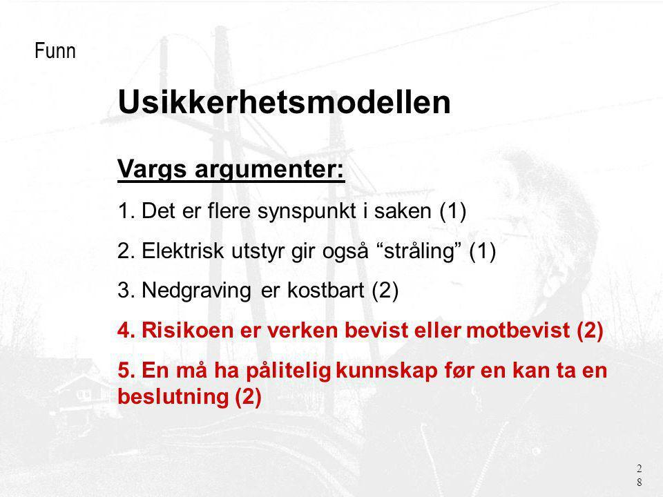 Usikkerhetsmodellen Funn Vargs argumenter: 1. Det er flere synspunkt i saken (1) 2.