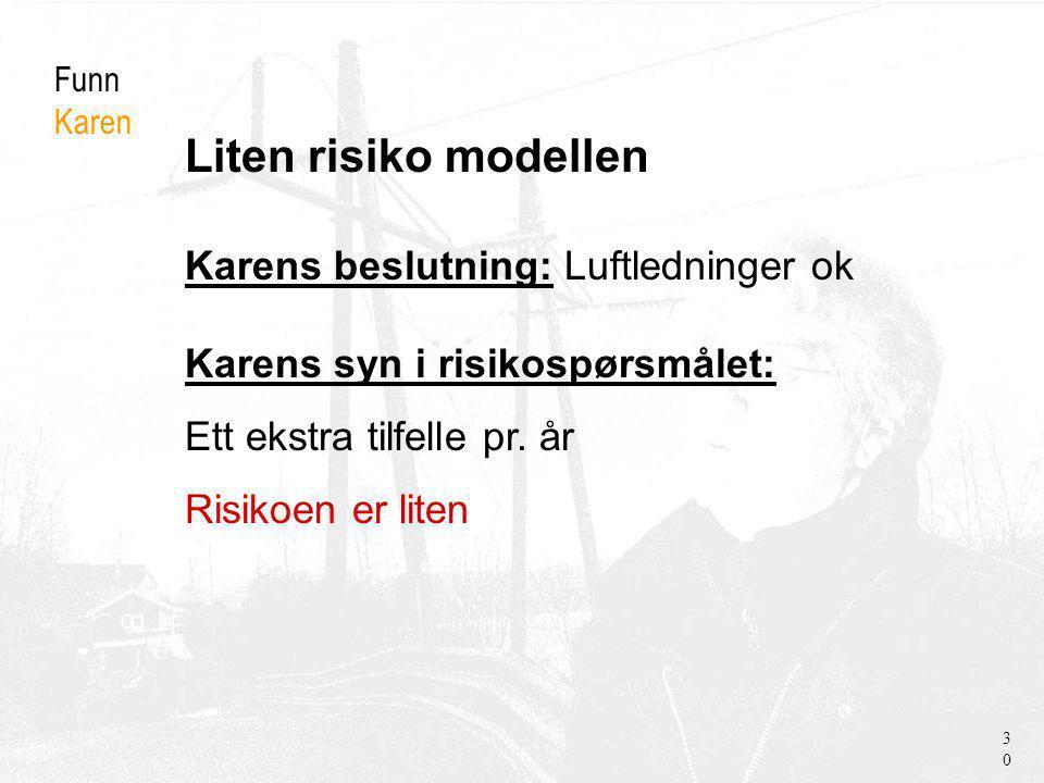 Liten risiko modellen Funn Karen Karens beslutning: Luftledninger ok Karens syn i risikospørsmålet: Ett ekstra tilfelle pr.