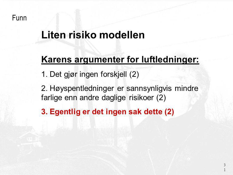 Liten risiko modellen Funn Karens argumenter for luftledninger: 1.