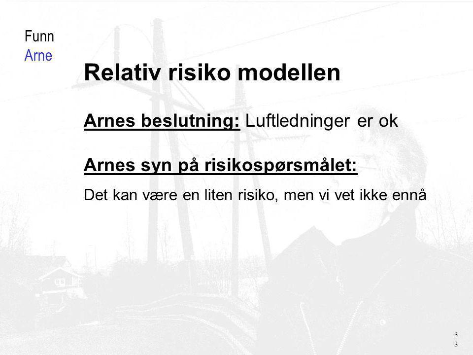 Relativ risiko modellen Funn Arne Arnes beslutning: Luftledninger er ok Arnes syn på risikospørsmålet: Det kan være en liten risiko, men vi vet ikke ennå 33