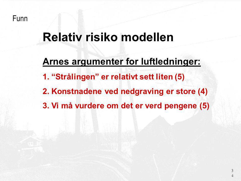 Relativ risiko modellen Funn Arnes argumenter for luftledninger: 1.