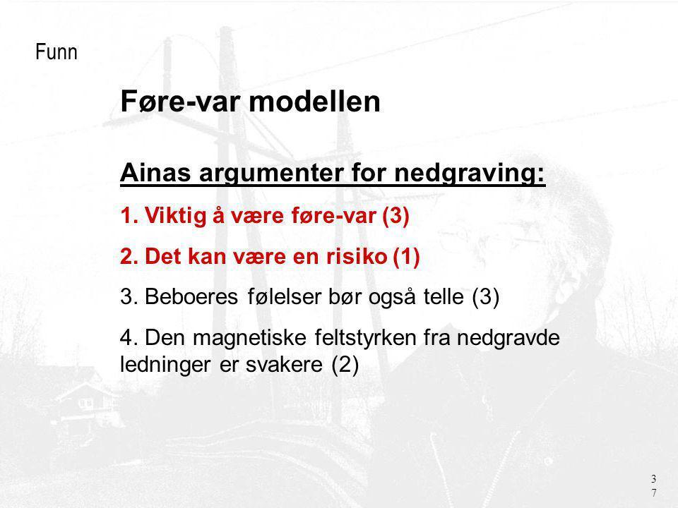 Føre-var modellen Funn Ainas argumenter for nedgraving: 1.