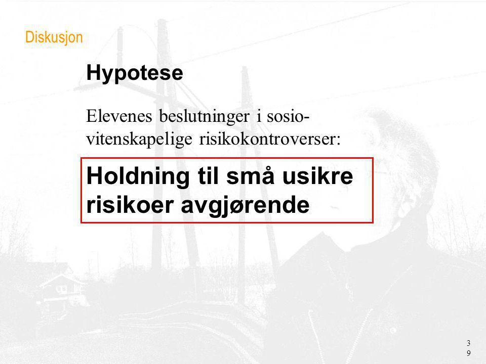 Hypotese Diskusjon Holdning til små usikre risikoer avgjørende 39 Elevenes beslutninger i sosio- vitenskapelige risikokontroverser: