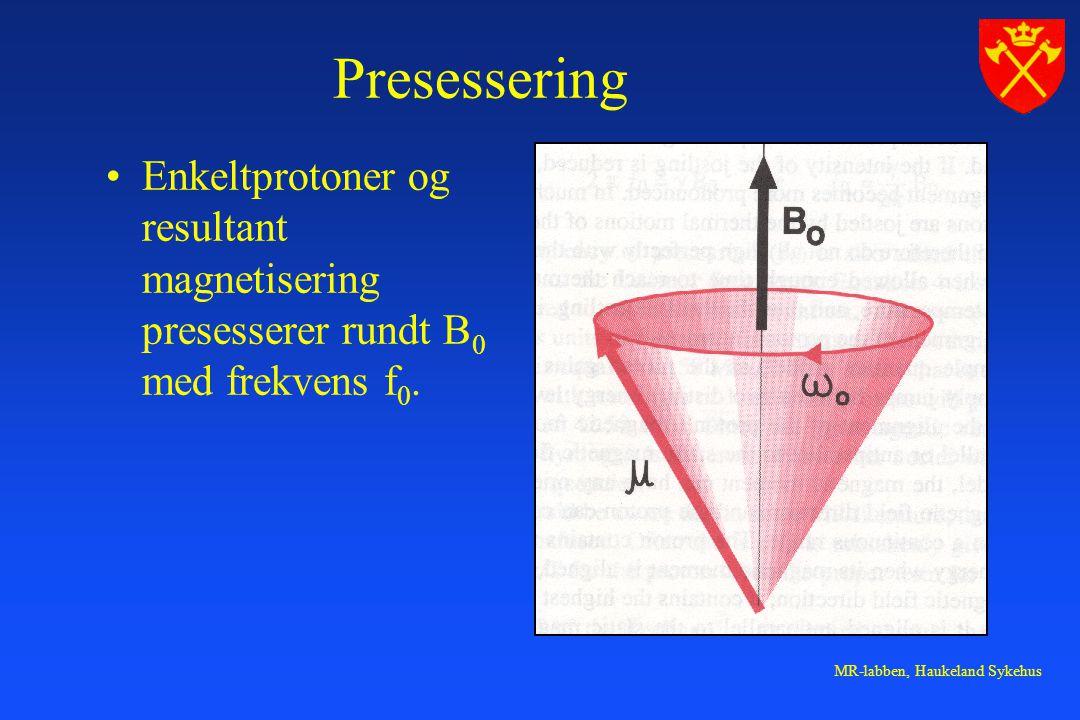 MR-labben, Haukeland Sykehus Presessering Enkeltprotoner og resultant magnetisering presesserer rundt B 0 med frekvens f 0.