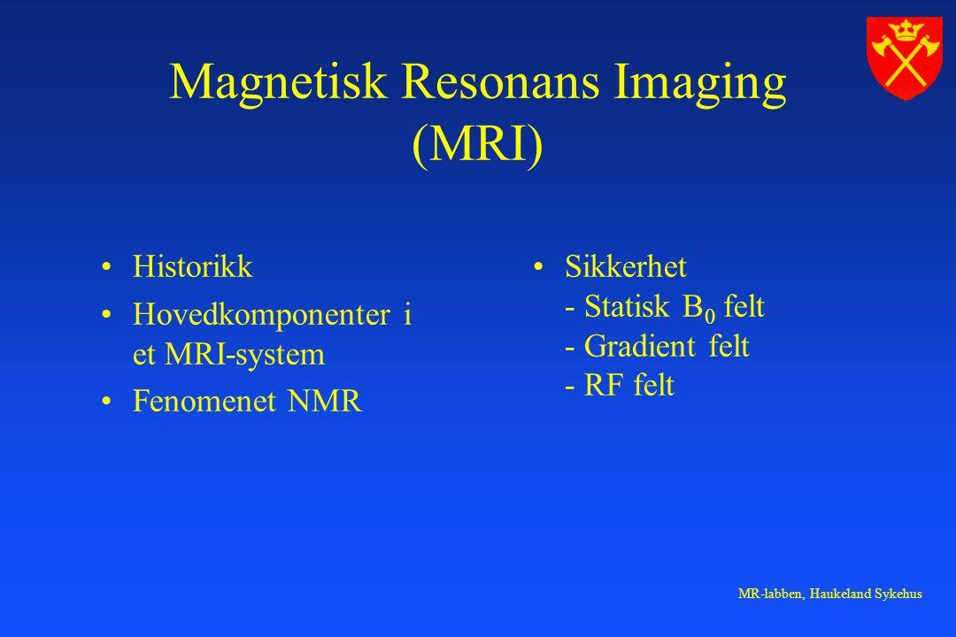 MR-labben, Haukeland Sykehus Magnetisk Resonans Imaging (MRI) Historikk Hovedkomponenter i et MRI-system Fenomenet NMR Sikkerhet - Statisk B 0 felt -