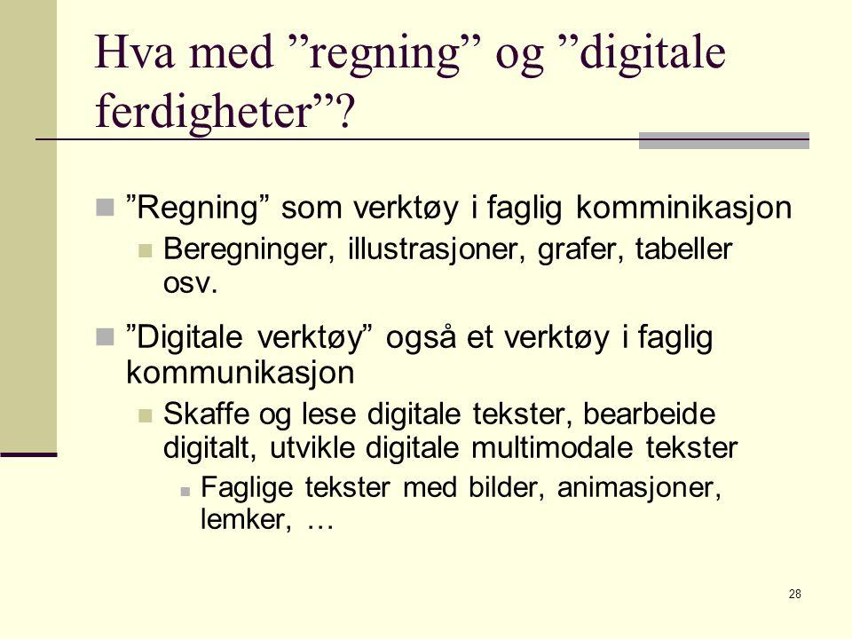 """28 Hva med """"regning"""" og """"digitale ferdigheter""""? """"Regning"""" som verktøy i faglig komminikasjon Beregninger, illustrasjoner, grafer, tabeller osv. """"Digit"""