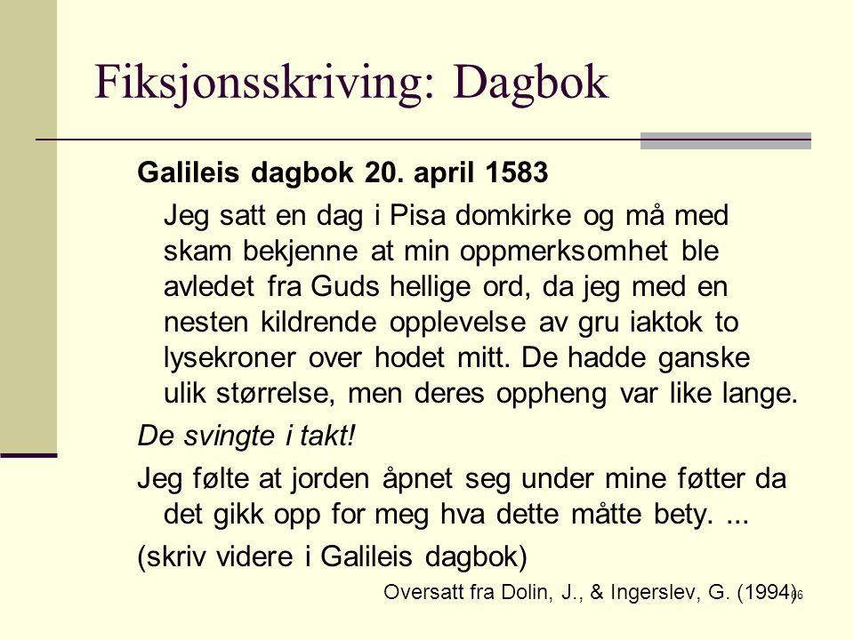 66 Fiksjonsskriving: Dagbok Galileis dagbok 20. april 1583 Jeg satt en dag i Pisa domkirke og må med skam bekjenne at min oppmerksomhet ble avledet fr
