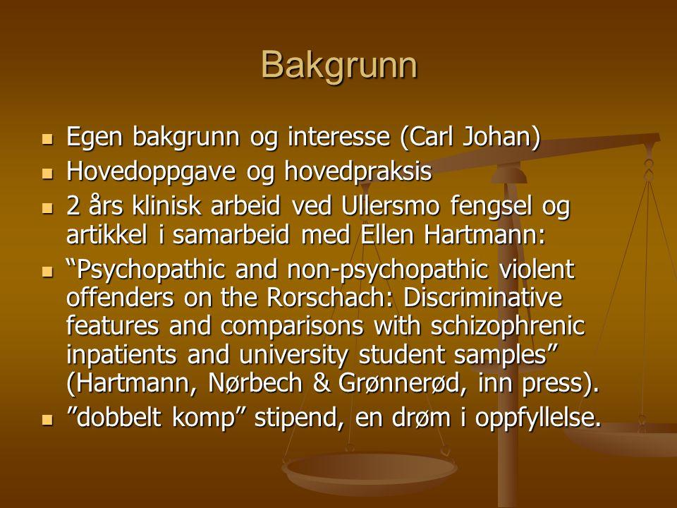 Bakgrunn Egen bakgrunn og interesse (Carl Johan) Egen bakgrunn og interesse (Carl Johan) Hovedoppgave og hovedpraksis Hovedoppgave og hovedpraksis 2 å