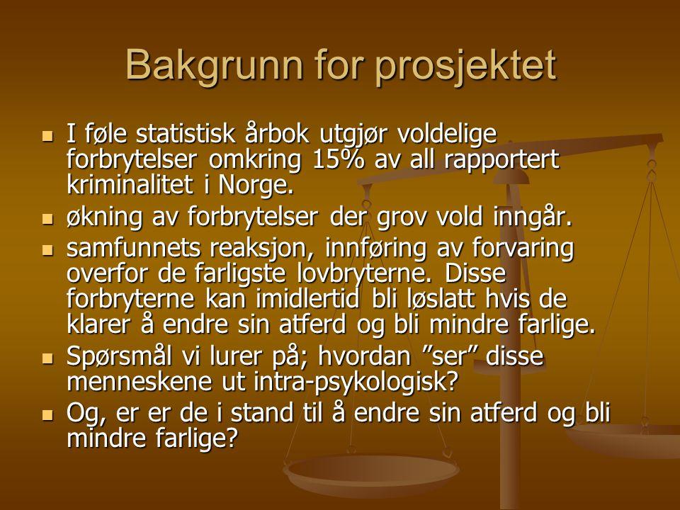 Bakgrunn for prosjektet I føle statistisk årbok utgjør voldelige forbrytelser omkring 15% av all rapportert kriminalitet i Norge. I føle statistisk år