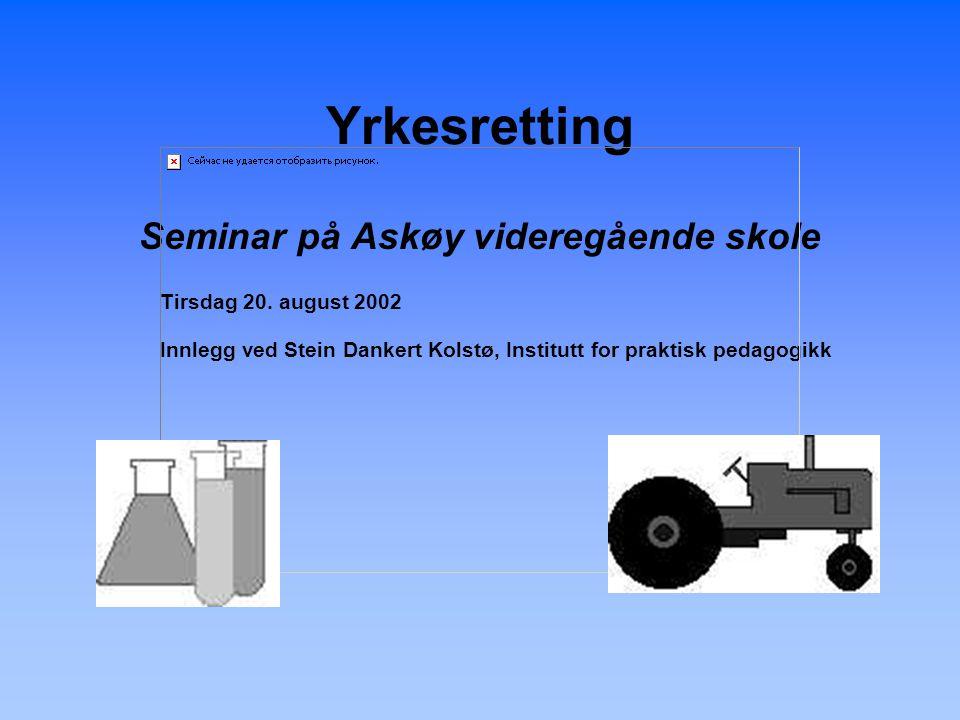 Yrkesretting Seminar på Askøy videregående skole Tirsdag 20.