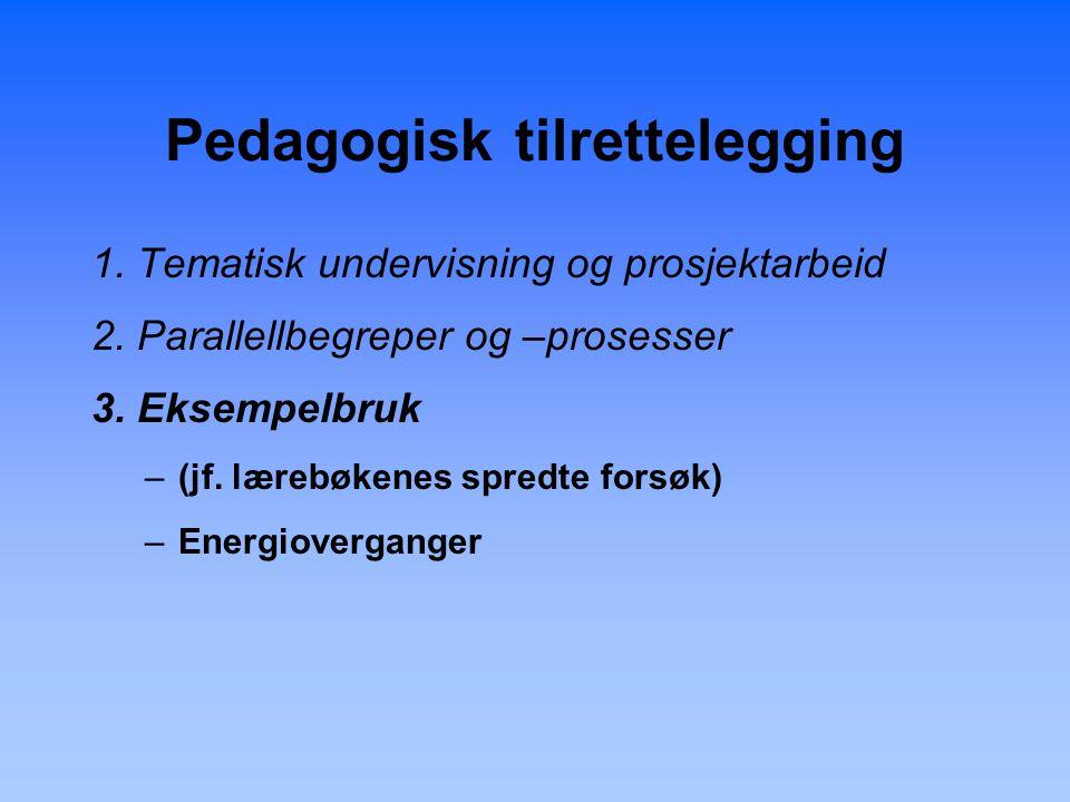 Pedagogisk tilrettelegging 1. Tematisk undervisning og prosjektarbeid 2.