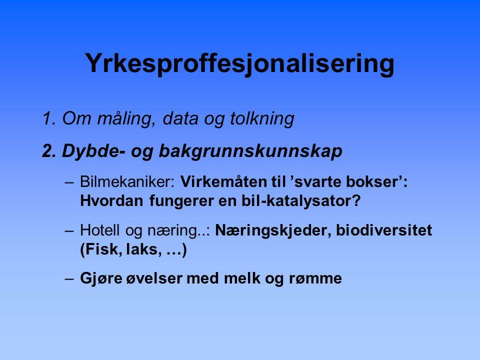 Yrkesproffesjonalisering 1. Om måling, data og tolkning 2.