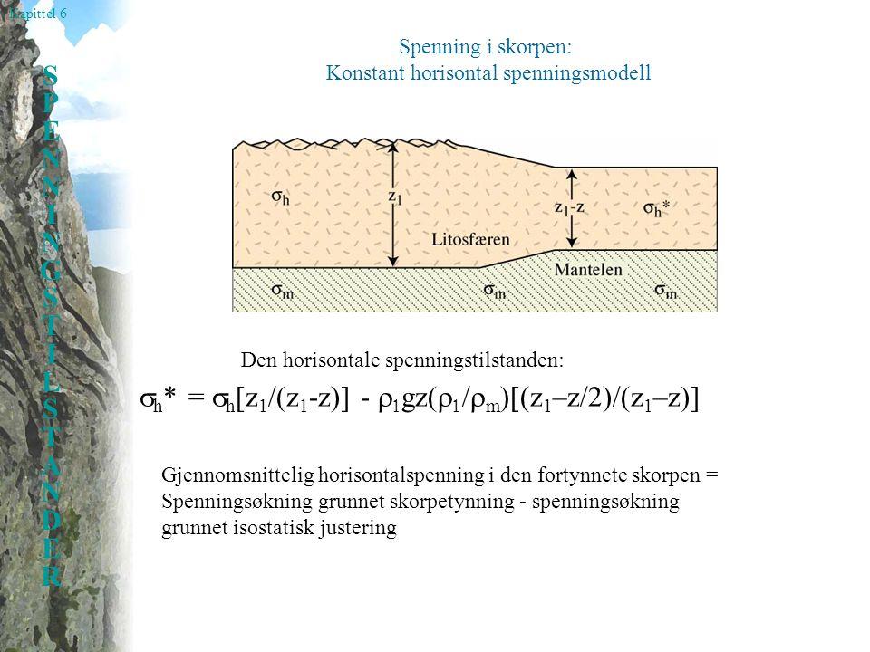 Kapittel 6 SPENNINGSTILSTANDERSPENNINGSTILSTANDER Spenning i skorpen: Konstant horisontal spenningsmodell Den horisontale spenningstilstanden:  h * =  h [z 1 /(z 1 -z)] -   gz(    m  z 1 –z/2)/(z 1 –z)] Gjennomsnittelig horisontalspenning i den fortynnete skorpen = Spenningsøkning grunnet skorpetynning - spenningsøkning grunnet isostatisk justering