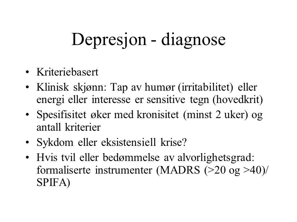 Depresjon - diagnose Kriteriebasert Klinisk skjønn: Tap av humør (irritabilitet) eller energi eller interesse er sensitive tegn (hovedkrit) Spesifisit