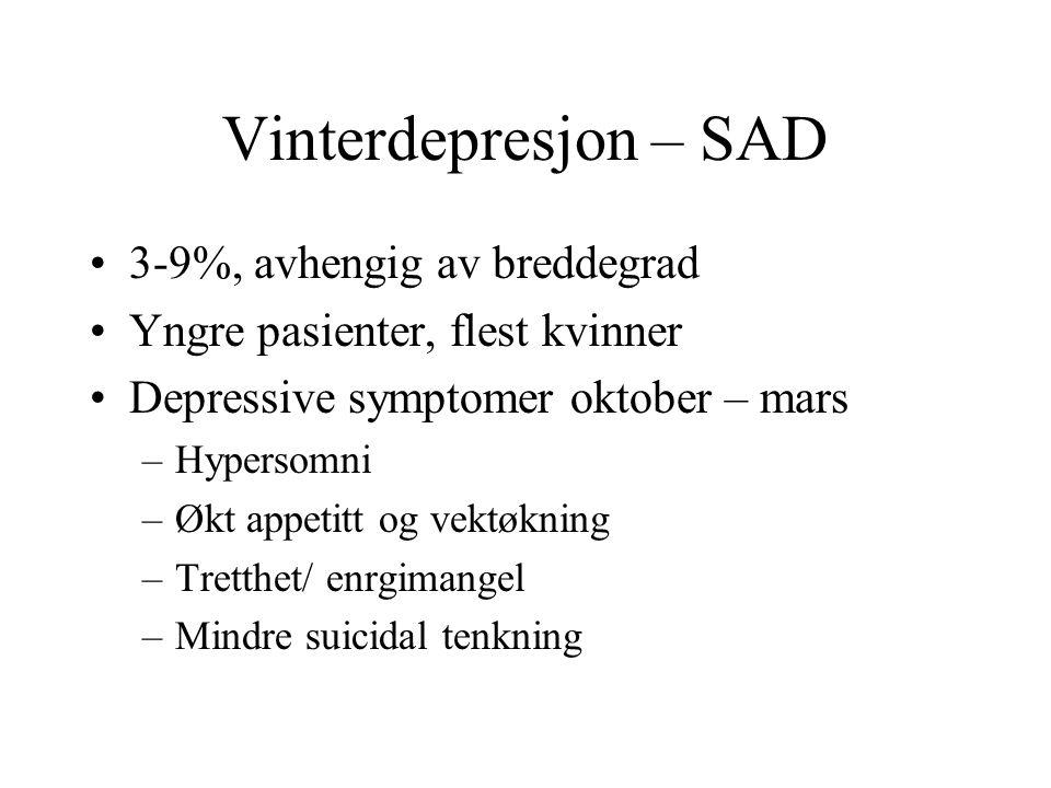 Vinterdepresjon – SAD 3-9%, avhengig av breddegrad Yngre pasienter, flest kvinner Depressive symptomer oktober – mars –Hypersomni –Økt appetitt og vek