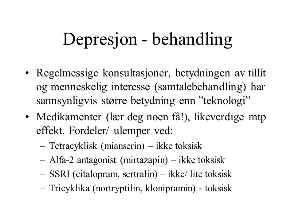 Depresjon - behandling Regelmessige konsultasjoner, betydningen av tillit og menneskelig interesse (samtalebehandling) har sannsynligvis større betydn