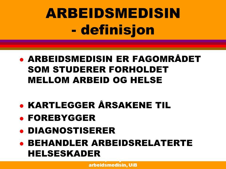 Moen, Seksjon for arbeidsmedisin, UiB ARBEIDSMEDISIN - definisjon l ARBEIDSMEDISIN ER FAGOMRÅDET SOM STUDERER FORHOLDET MELLOM ARBEID OG HELSE l KARTL