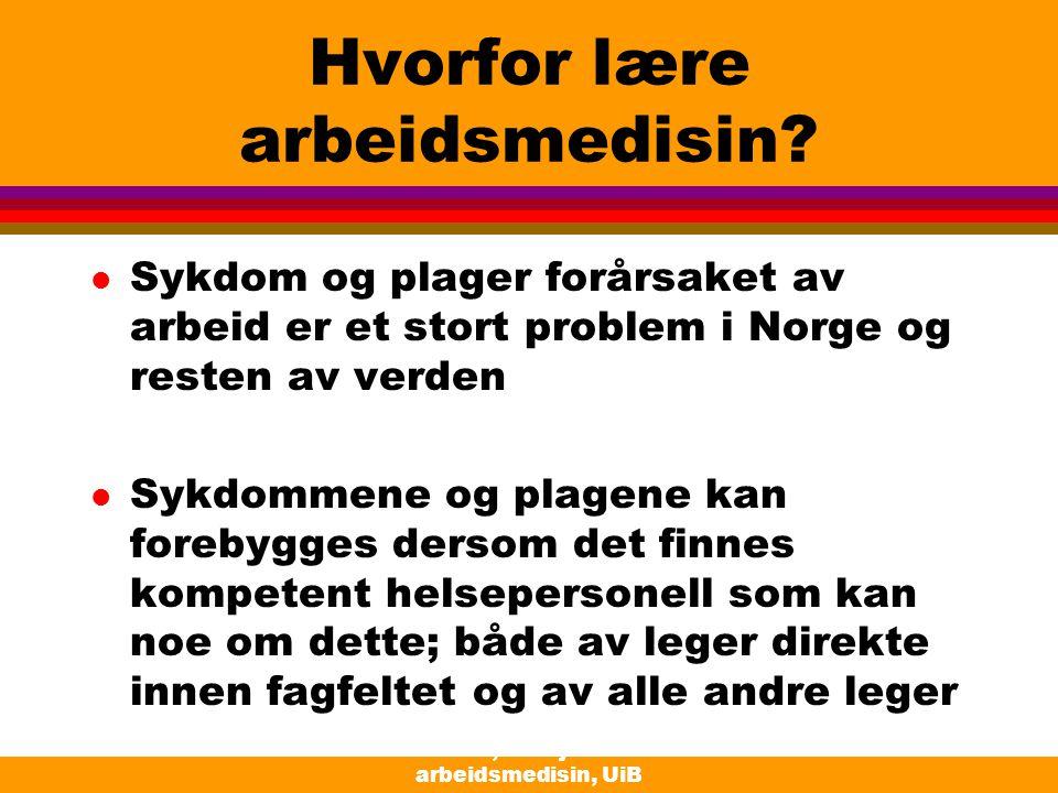 Moen, Seksjon for arbeidsmedisin, UiB Hvorfor lære arbeidsmedisin? l Sykdom og plager forårsaket av arbeid er et stort problem i Norge og resten av ve