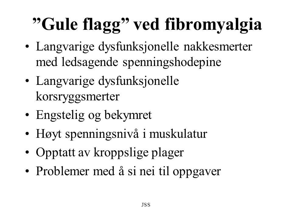 """JSS """"Gule flagg"""" ved fibromyalgia Langvarige dysfunksjonelle nakkesmerter med ledsagende spenningshodepine Langvarige dysfunksjonelle korsryggsmerter"""